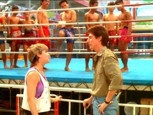"With Cynthia Rothrock in ""No Retreat, No Surrender 2"" (1987)"