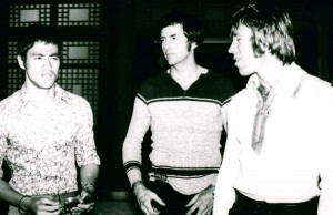 Bob Wall with Bruce Lee and Chuck Norris.
