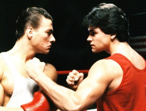 "Jean-Claude Van Damme and Kurt McKinney in ""No Retreat, No Surrender"""