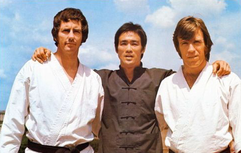 "Bob Wall with Bruce Lee and Chuck Norris on the set of ""Way of the Dragon"""