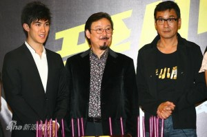"Aarif Lee (young Bruce Lee), Robert Lee and Tony Leung Ka-fai (Bruce Lee's father, Lee Hoi-chuen) promoting the 2010 bio-film, ""Bruce Lee, My Brother"""