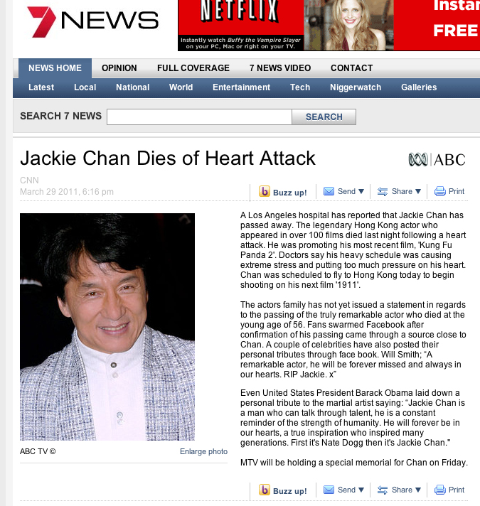 Jackie Chan Dead Image...