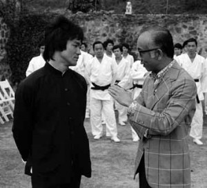 "Bruce Lee and Raymond Chow on the set of ""Enter the Dragon"""