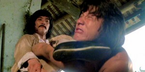 "Hwang Jang Lee getting the best of Jackie Chan in ""Drunken Master."""
