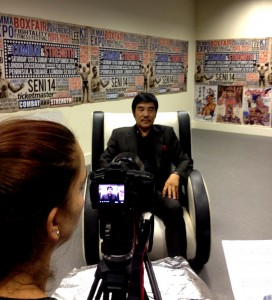 Preparing Hwang Jang Lee for the media.