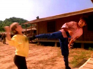"Hwang Jang Lee gives it to Cynthia Rothrock in ""No Retreat, No Surrender II: Raging Thunder"""