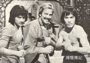 "Fu Sheng on the set of ""Marco Polo"" with Richard Harrison and Carter Wong."